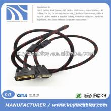 Plaqué or 5ft DVI -I double liaison au câble VGA Mâle à mâle avec Nylon Net Support 3D 1080P