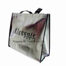 Custom Print Silver Laminated Non Woven Tote Bag