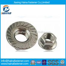 Aço Inoxidável 18-8 Serrilhado Hex Flange Nut Made In China