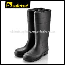 Bottes de gomme noire, bottes en acajou en acier, bottes en gomme en plastique S4 / S5 W-6037