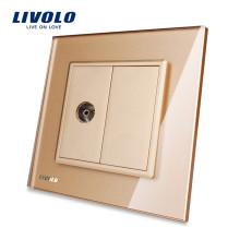 Livolo Gold Панель из хрусталя VL-C791V-13 Wall 1 Gang TV Розетка Электрическая вилка
