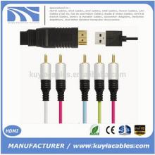 HDMI Мужской TO 5RCA RGB С чипсетом Аудио кабель Vedio Непосредственно usb 1M 1.5M 1.8M