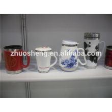 China Top-Ten verkauften Produkte Keramiktasse mit Edelstahlfuß, gedruckt Sitte Thermobecher