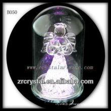 Anjo de cristal K9 com tampa de vidro fora