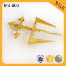 MB606 Имитация золотой металл логотип пластины для качественной одежды и сумок