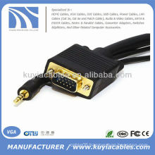 SVGA VGA Male To Male with Stereo 3.5mm Audio Cable Cord For PC TV