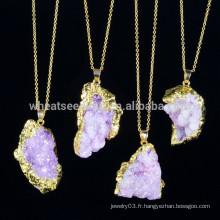 Bijoux en cristal améthyste à la mode avec pierres naturelles, collier pendentif