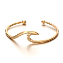 Rose gold womens gelombang laut gelang manset