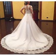 2016 Vestido De Noiva Princes Lace Bridal Gown Appliques Long Sleeve Puffy Wedding Dresses CWF2329