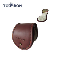 Tourbon инновационных большого размера холст и кожаный рыболовная катушка чехол/кожа верхнего зерна неподдельная рыболовная Катушка Чехол мешок/реальный случай