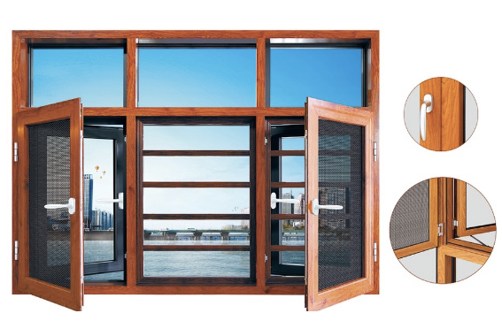 casement window with mesh