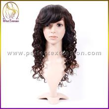 compre productos chinos pelo sin procesar pelucas humanas vírgenes baratas con flequillo