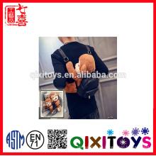 Bolso de la PU del bolso de la reconstrucción del diseño de 2016 fashional con la felpa formada mono para el bolso del juguete que viaja
