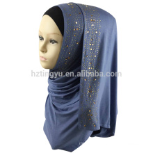 2017 new pattern fashion muslim women head wear stone stretch jersey hijab scarf shawl