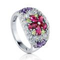 Blume Farbe Stein 925 Silber CZ Ring Schmuck