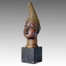 Busts Bronze Sculpture Black Male Carving Decoration Brass Statue TPE-097