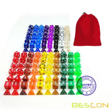 BESCON Assorted Colorfed Polyhedral RPG Dice Set 126pcs