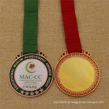 Medalha de metal de escola personalizada com capa de epóxi