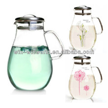 1500ml Large Antique Insulated Clear Glass Hot And Cold Water Filter Jug