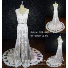Pulseira de espaguete elegante laço applique padrão de vestido de sereia de noiva