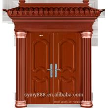 Stahl Villa Double Entry Security Tür Rot Kupfer Malerei Haut verzinktem Blatt