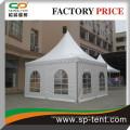 5m von 5m Hochzeitszelt in weiß mit Aluminiumrahmen und PVC Rolltor