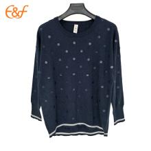Último diseño de blusa de suéter de impresión digital azul marino de moda