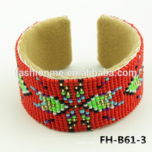 pas cher bracelet de perle de semence épaisse rouge indien