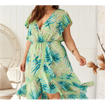 Plus Size Casual Women Unregelmäßiges Kurzarmkleid