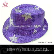 2013 Newest sequin fedora hat Purples