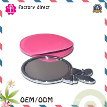 PU Cover Embossed Logo Cosmetic Mirror, Make up Mirror for Promotion