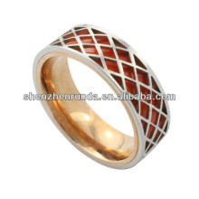 factory manufacture ring, high polished stainless steel ring with red round for men