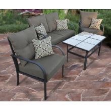 Outdoor-Wicker Möbel 4pc Chat set mit Kissen und Ziegel-Tischplatte