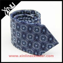 Navy Blue Geometrical Jacquand Neck Tie, Silk Jacquard Necktie
