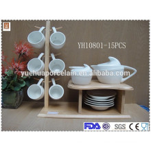 15 pcs ceramic tableware set with teapot set cup and saucer set