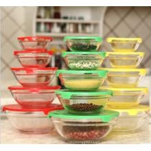 Pyrex oblique mouth glass bowl Fruit salad dessert bowls,5-Piece Glass Mixing Bowl Set