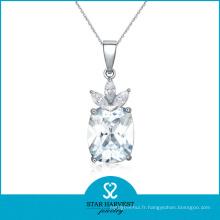 AAA gros diamant collier rhodié collier bijoux (J-0121N)