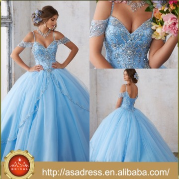 ASQ05 Sky Blue Cap Sleeve Full Beads and Crystal Shiny Prom Ball Gown Quinceanera Dresses