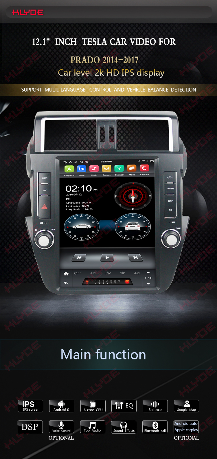 dvd gps for toyota prado 2016