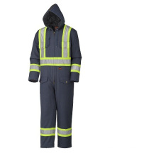 Navy Quilted Cotton Duck Safety Coverall