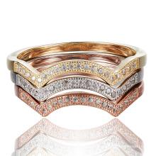 Knuckle Ring CZ Anel de Prata em Pedra