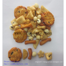 corn snacks food mix rice crackers and coated peanuts