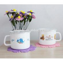 Printed Enamel milk Mugs & straight body enamel mug