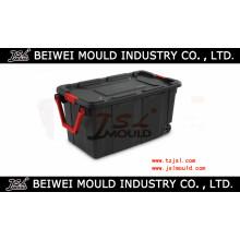 Le conteneur à roues en plastique de stockage a emballé le moule industriel raboteux de boîte de couvercle