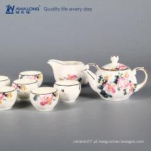 Chinese style chá jogo peony chinês sorte porcelana chá xícara e pote