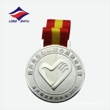 Antiguo trabalho de caridade prateado lembrança de metal medalhas