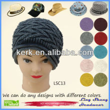 LSC13 Ningbo Lingshang Fashion Winter 100% Cotton nice design hot sale knit hat