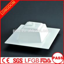 Alta qualidade elegante ampla-borda quadrada porcelana sopa de porcelana com tampa