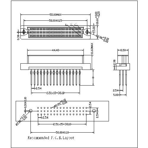 DFS-XX-XXX-313 Vertical Female Type Half C Compliant press-Fit Connectors 48 Positions-Model