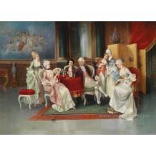 Pintura a óleo clássica pintada mão genuína na arte da lona